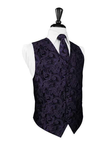 Lapis Purple Tapestry Tuxedo Vest and Tie Set