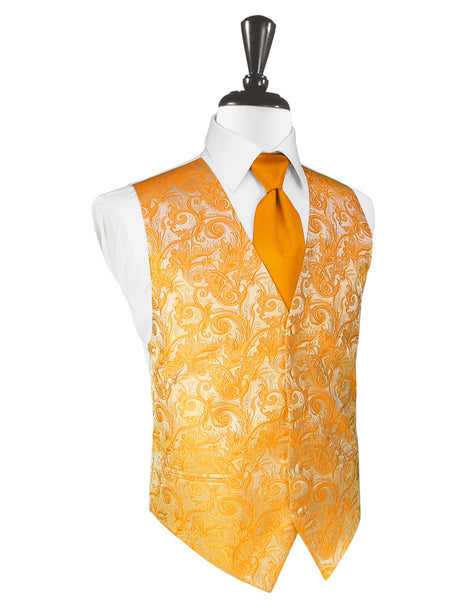 Mandarin Orange Tapestry Tuxedo Vest and Tie Set