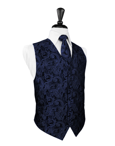 Marine Blue Tapestry Tuxedo Vest and Tie Set
