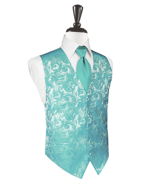 Mermaid Green Tapestry Tuxedo Vest and Tie Set
