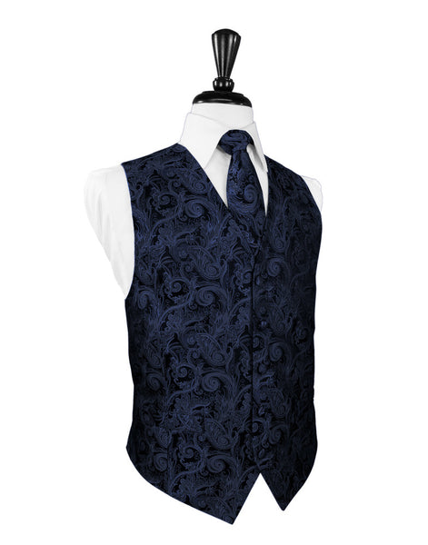 Midnight Blue Tapestry Tuxedo Vest and Tie Set