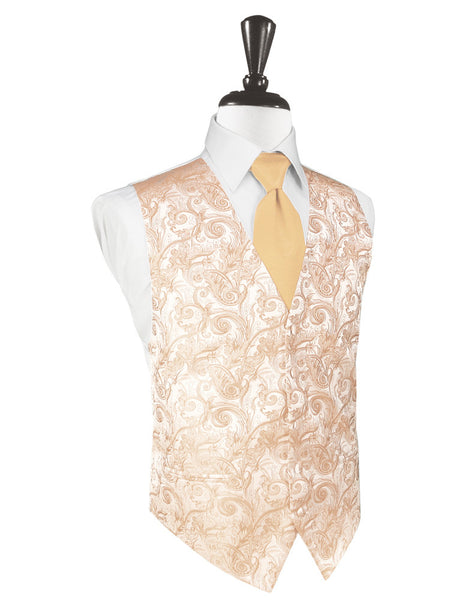 Peach Tapestry Tuxedo Vest and Tie Set