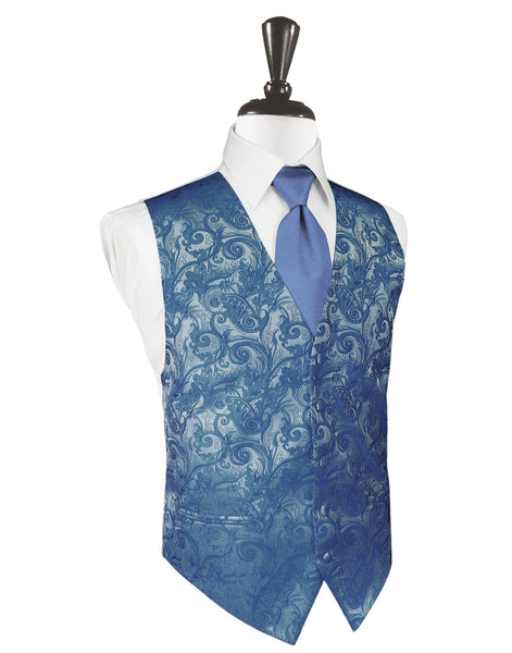 Periwinkle Tapestry Tuxedo Vest and Tie Set