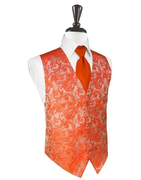 Persimmon Tapestry Tuxedo Vest and Tie Set