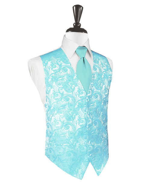 Pool Blue Tapestry Tuxedo Vest and Tie Set