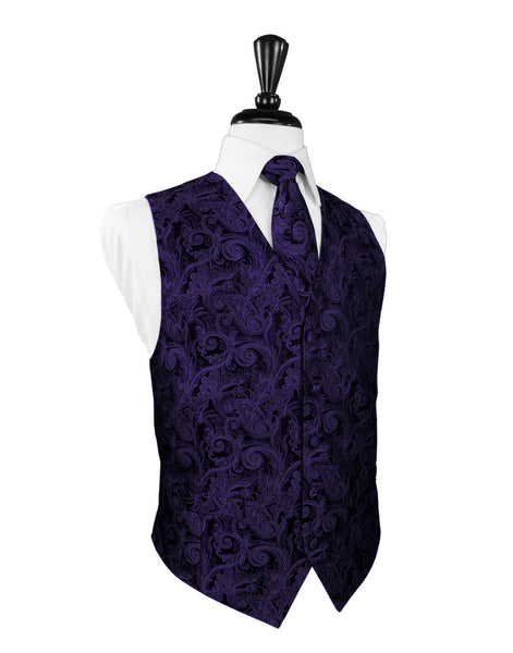 Purple Tapestry Tuxedo Vest and Tie Set