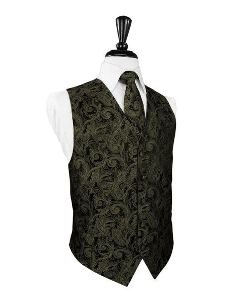 Sage Green Tapestry Tuxedo Vest and Tie Set