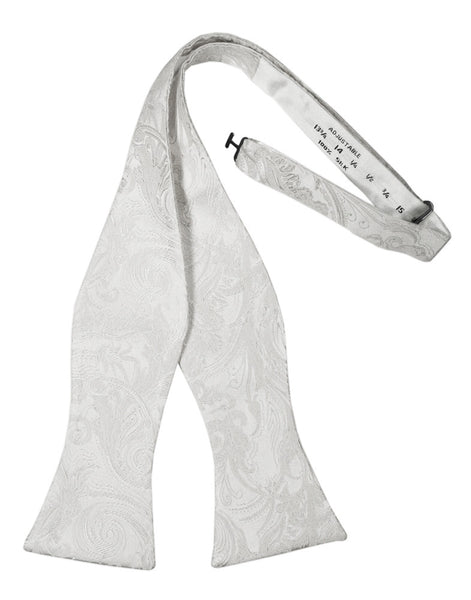 White Tapestry Silk Self-Tie Bow Tie