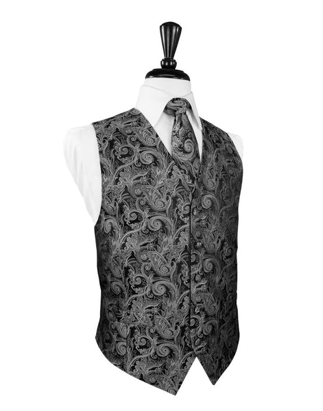 Silver Satin Tapestry Tuxedo Vest and Tie Set