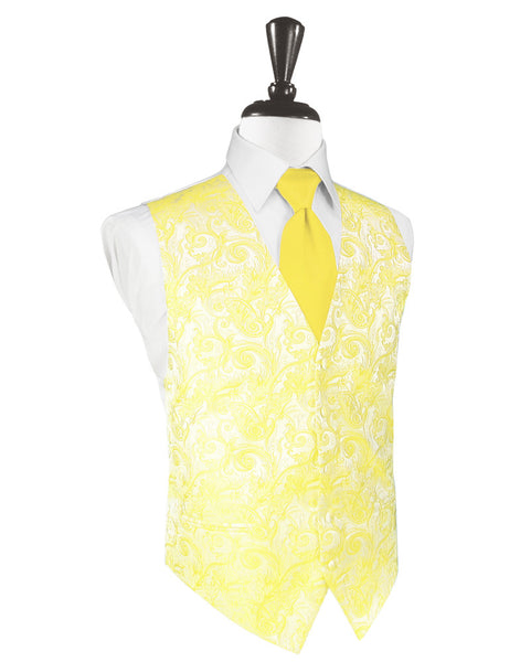 Sunbeam Yellow Tapestry Tuxedo Vest and Tie Set
