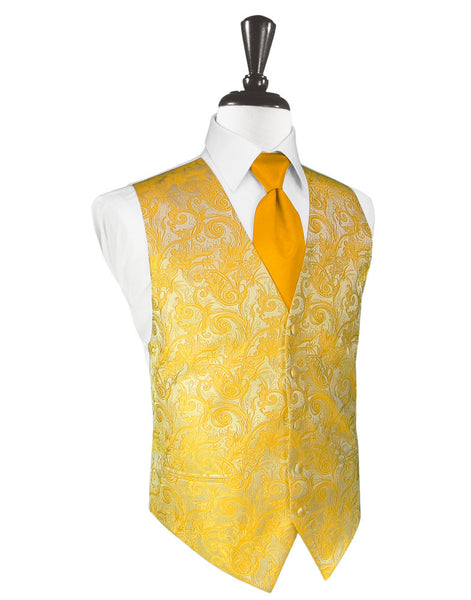 Tangerine Orange Tapestry Tuxedo Vest and Tie Set