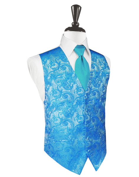 Turquoise Tapestry Tuxedo Vest and Tie Set