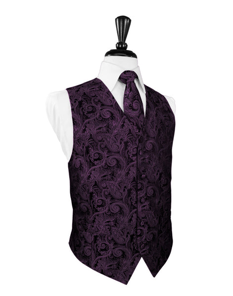 Wine Tapestry Tuxedo Vest and Tie Set