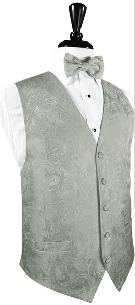 Tapestry Pattern Silk Tuxedo Vest (Platinum) - 100% Silk and Tie Set