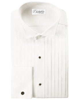 Big and Tall IVORY Tuxedo Shirt -100% Cotton, Pleated, Wing Collar, French Cuffs