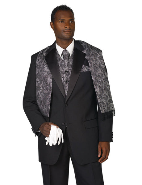 Men's Black 2 Button Tuxedo with Notch Lapel - Includes Pants!