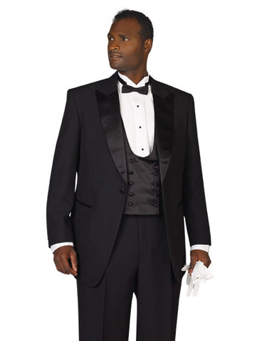 Mens Black Peak Lapel Tuxedo - Includes Pants!