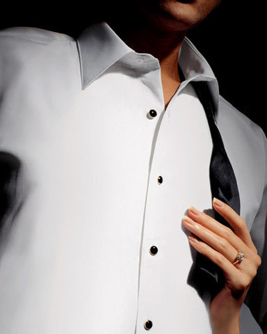 White Fitted (Lorenzo) Tuxedo Shirt By Christoforo Cardi - Non-Pleated with Laydown Collar -100% Pima Cotton
