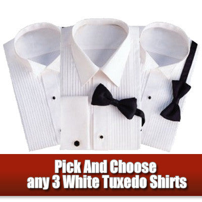 3 Pack of Tuxedo Shirts on Sale for only $49.95!  Wing OR Laydown Collar Styles!