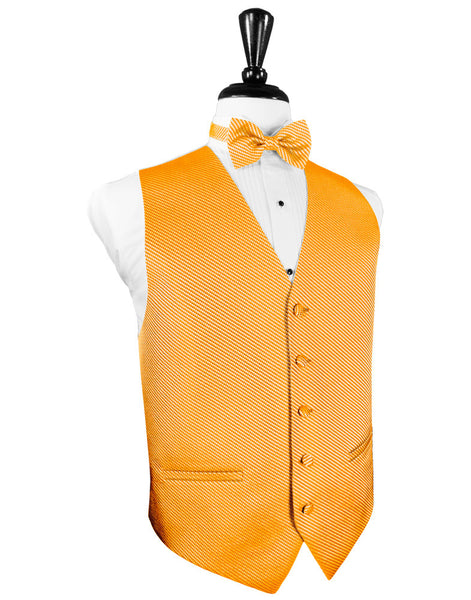 Mandarin Orange Venetian Tuxedo Vest and Tie Set