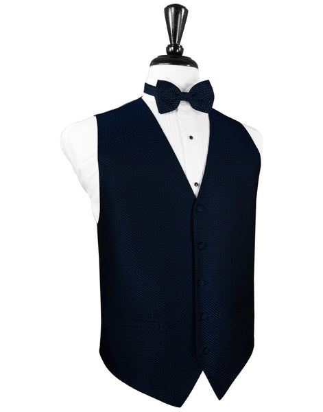 Navy Blue Venetian Tuxedo Vest and Tie Set