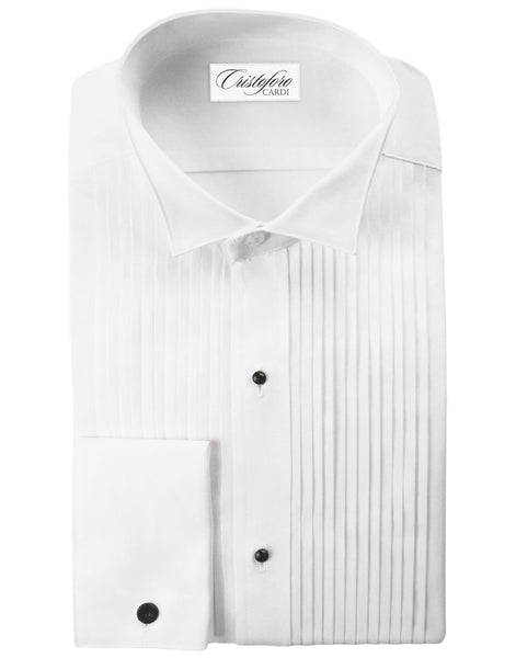 White Big and Tall Tuxedo Shirt by Christoforo Cardi -  Wing Collar, 100% Cotton with French Cuffs