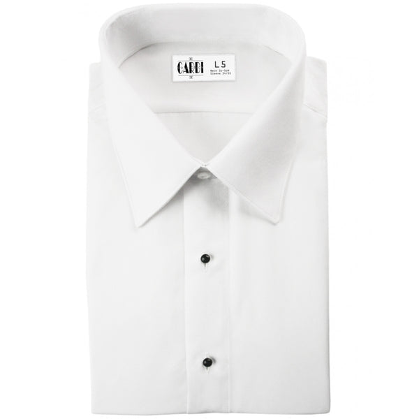 White Non-Pleated Laydown Collar (Como) Tuxedo Shirt by Cardi