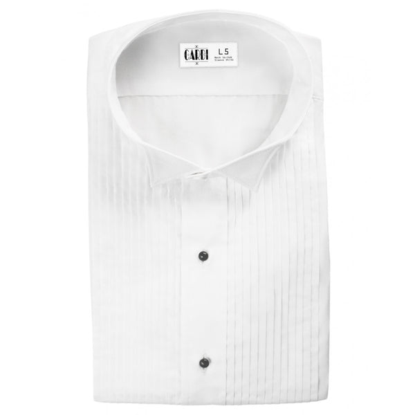 White Pleated Wing Collar (Dante) Tuxedo Shirt by Cardi - Ultra Soft Fabric