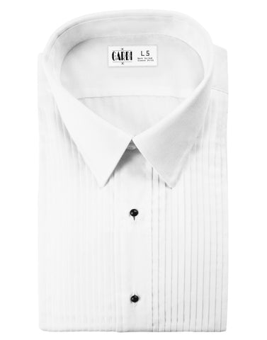 White Pleated Laydown Collar (Enzo) Tuxedo Shirt by Cardi - Ultra Soft Fabric