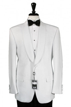 White 1 Button Shawl Men's Dinner Jacket by Cardi Couture