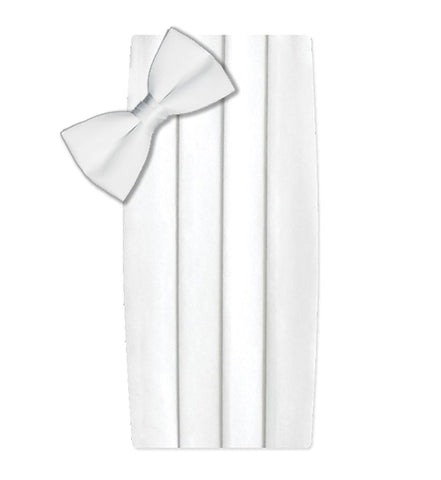 Poly/Satin Cummerbund and Bow Tie Set - White