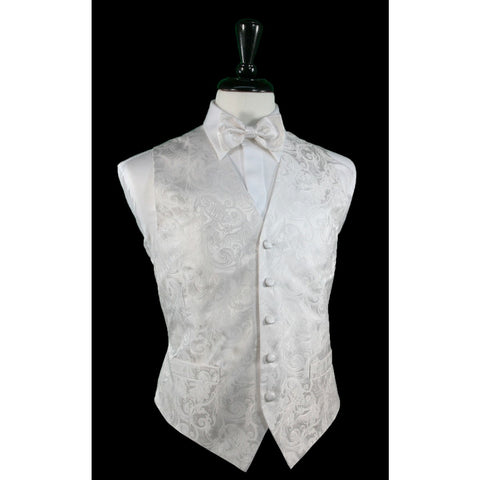Tapestry Pattern Silk Tuxedo Vest (White) - 100% Silk and Tie Set