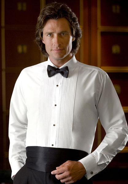 "Men's Ivory Banded Collar Tuxedo Shirt  With 1/2"" Pleats"