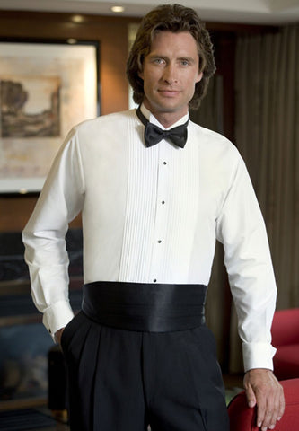 White Wing Collar Tuxedo Shirt with Pleated Bib (#901)