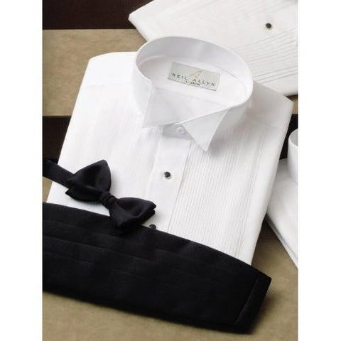Women's White Wing Collar Pintuck Tuxedo Shirt - 1/8 Inch Pleats