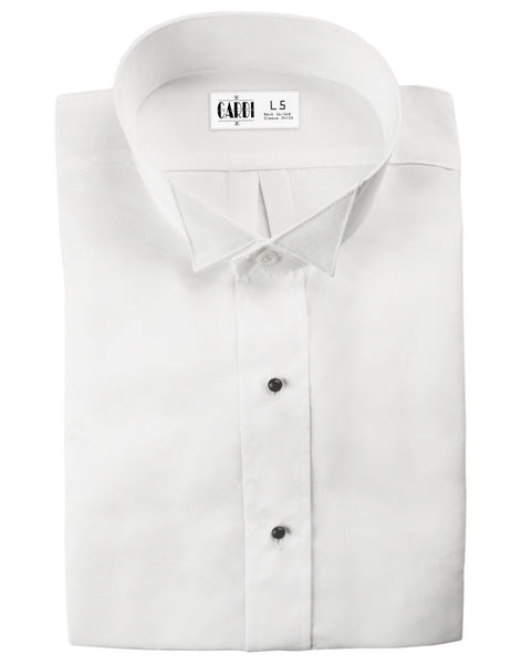 White Wing Collar Non-Pleated Tuxedo Shirt for Big & Tall Men - Ultra Soft Fabric!