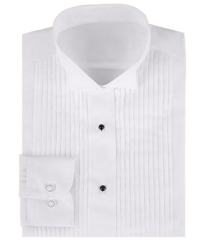 Women's Wing Collar Tuxedo Shirt - 1/4 Inch Pleats