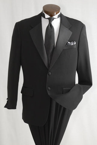 Black 2 Button Tuxedo with Notch Lapel - A Classic Men's Tuxedo