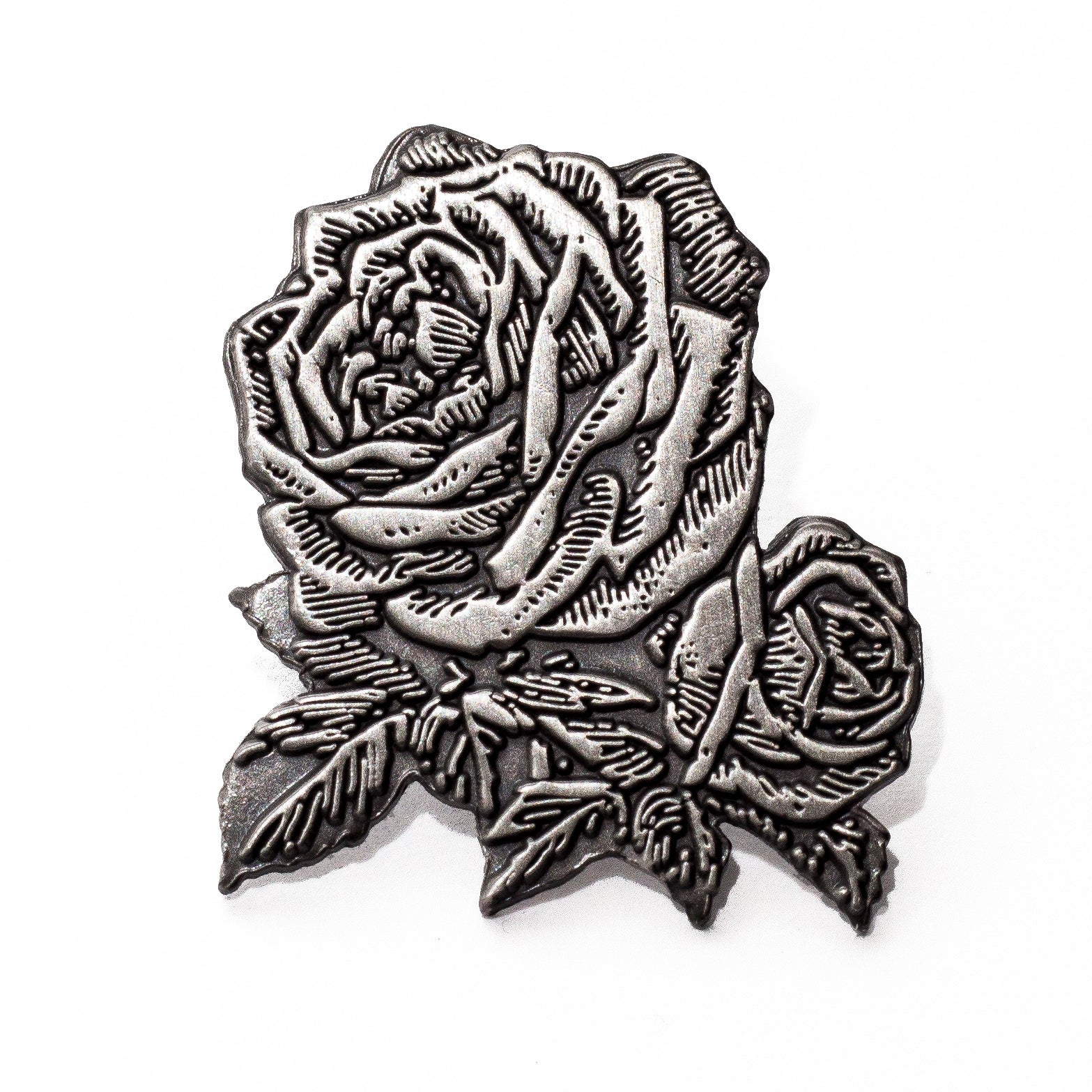 Antique Silver Rose Pin