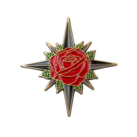 Rose Compass Pin Antique Gold