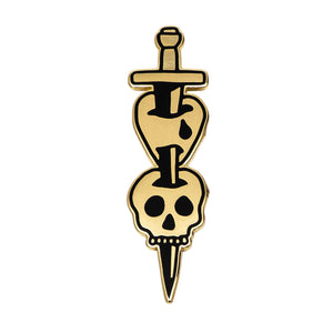 Dagger Heart Skull Pin