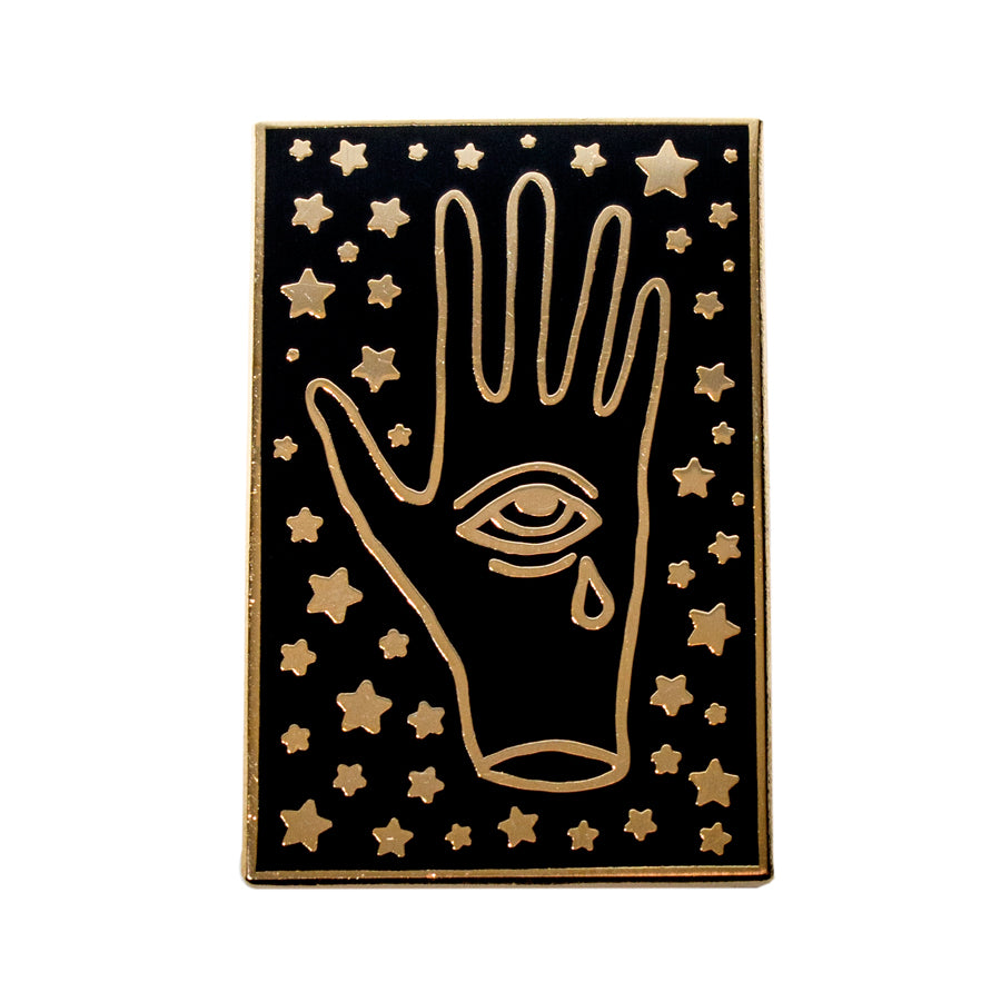 Crying Third Eye Hand Pin Gold