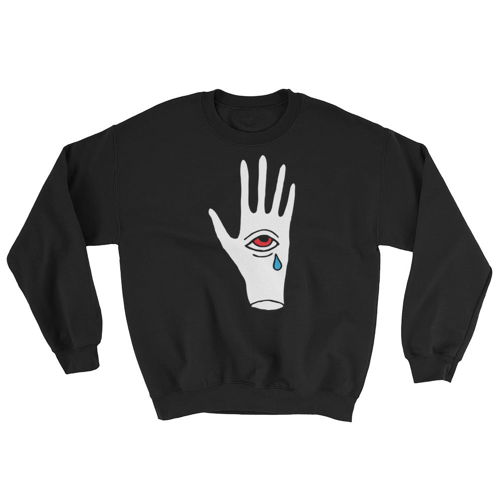 Crying third eye in hand sweater