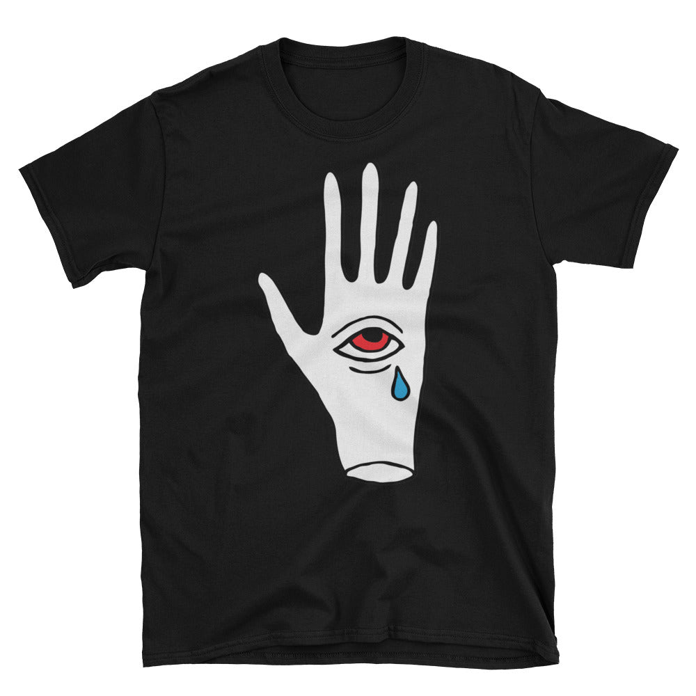 Crying third eye in hand t-shirt