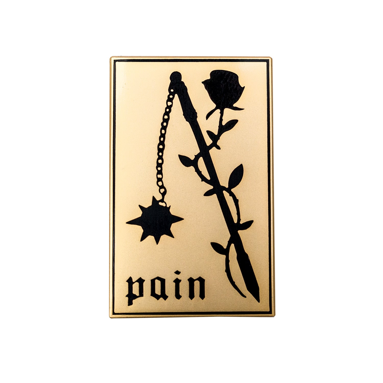 Pain Pin. Rose and Flail Enamel Pin.