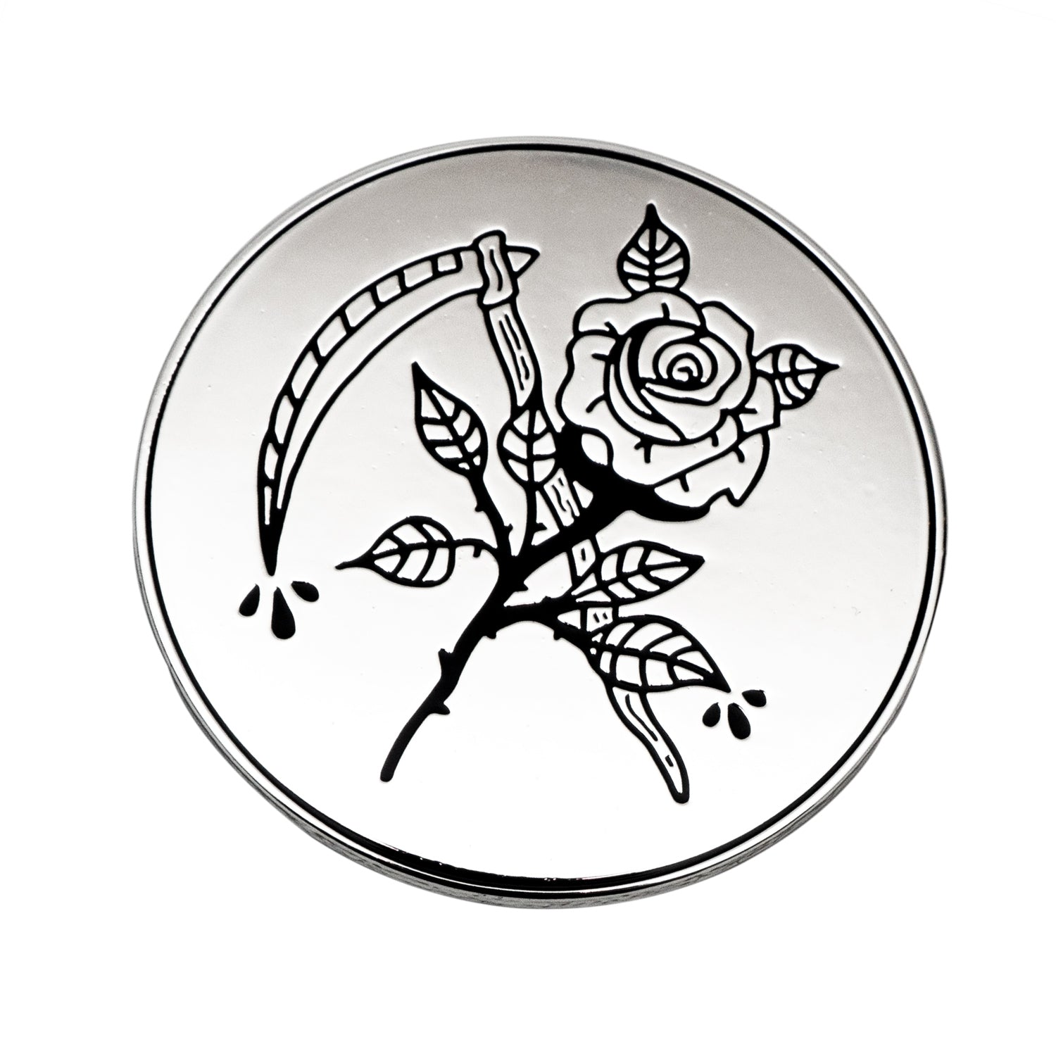 Rose and Scythe Enamel Pin