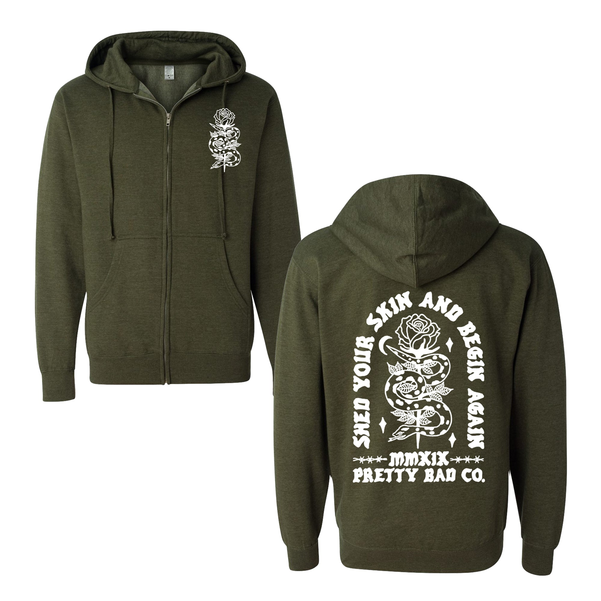 Shed Your Skin Zip Up Hoody Heather Green