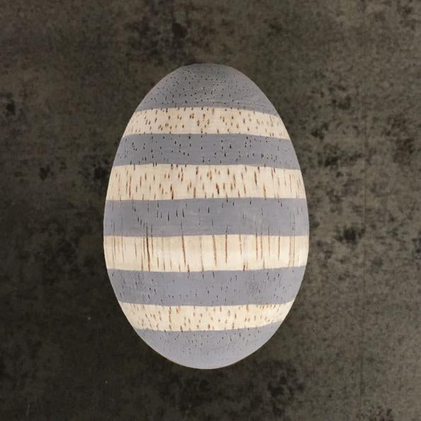 Corinne Lapierre grey striped wooden egg