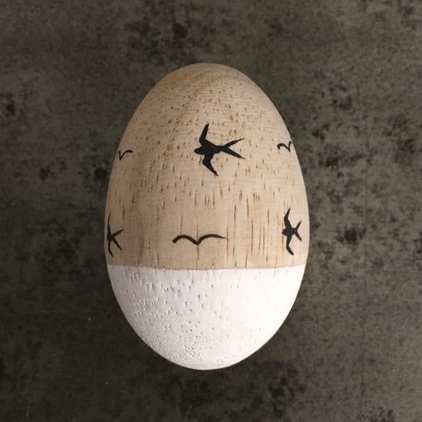 Corinne Lapierre wooden egg - swallows