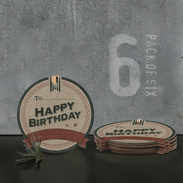 'Happy Birthday' Gift Tags - Pack of Six